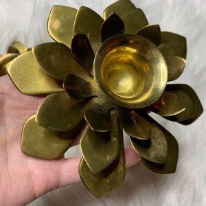 Vintage Accents - Vintage Brass Flower Candle Holders Set of 2